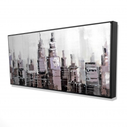 Framed 24 x 48 - 3D - Abstract grayscale cityscape