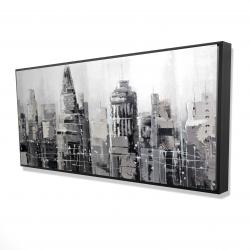 Framed 24 x 48 - 3D - Gray city
