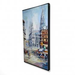 Framed 24 x 48 - 3D - Busy street by a sunny day
