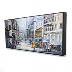 Framed 24 x 48 - 3D - Busy street by a cloudy day