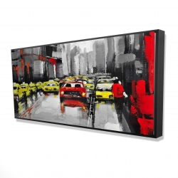 Framed 24 x 48 - 3D - Abstract traffic by a rainy day