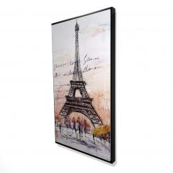 Framed 24 x 48 - 3D - Eiffel tower sketch with an handwritten message
