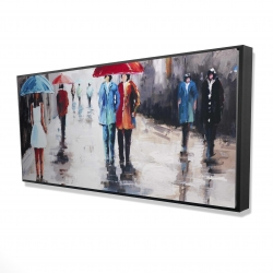 Framed 24 x 48 - 3D - People with umbrellas in the street