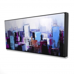 Framed 24 x 48 - 3D - Abstract blue & purple city