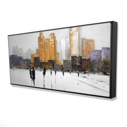 Framed 24 x 48 - 3D - Silhouettes walking towards the city