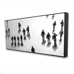 Framed 24 x 48 - 3D - Overhead view of people on the street