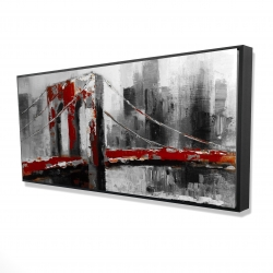 Framed 24 x 48 - 3D - Abstract and red brooklyn bridge