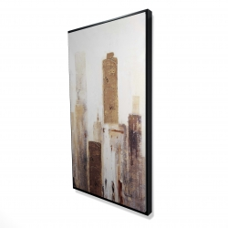 Framed 24 x 48 - 3D - Abstract earthy tones city