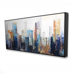 Framed 24 x 48 - 3D - Texturized abstract city