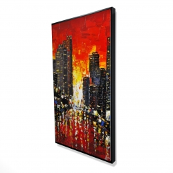 Framed 24 x 48 - 3D - Abstract sunset on the city
