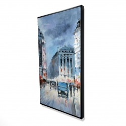 Framed 24 x 48 - 3D - Abstract red and blue city