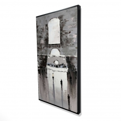 Framed 24 x 48 - 3D - Gray building with passersby