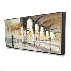 Framed 24 x 48 - 3D - People in a spacious hall