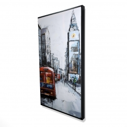 Framed 24 x 48 - 3D - Abstract london and red bus