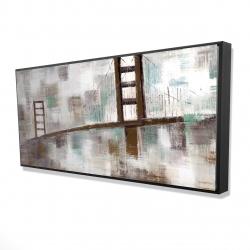Framed 24 x 48 - 3D - Abstract golden gate