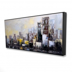 Framed 24 x 48 - 3D - Abstract city in the morning