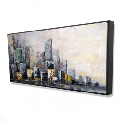Framed 24 x 48 - 3D - Abstract cityscape in the morning