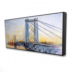Framed 24 x 48 - 3D - Abstract brooklyn bridge