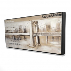 Framed 24 x 48 - 3D - Abstract bridge with typography