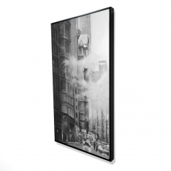 Framed 24 x 48 - 3D - Morning in the streets of new-york city monochrome