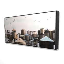 Framed 24 x 48 - 3D - Water towers with birds
