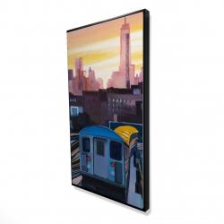 Framed 24 x 48 - 3D - Sunset over the subway in new-york