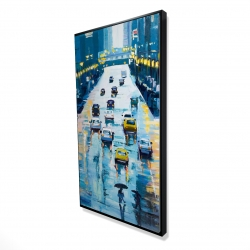 Framed 24 x 48 - 3D - Rainy streets of new york