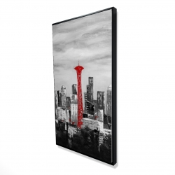 Framed 24 x 48 - 3D - Space needle in red