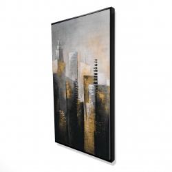 Framed 24 x 48 - 3D - Abstract gold skyscraper