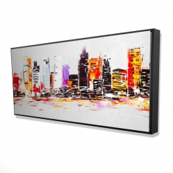 Framed 24 x 48 - 3D - Abstract city in bright colors