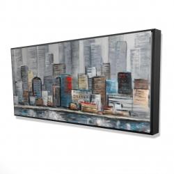 Framed 24 x 48 - 3D - Abstract city skyline