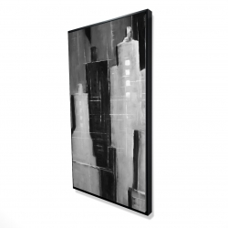 Framed 24 x 48 - 3D - Abstract black and white cityscape