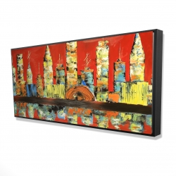Framed 24 x 48 - 3D - Red abstract skyline