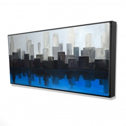 Framed 24 x 48 - 3D - Blue city