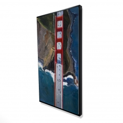 Framed 24 x 48 - 3D - Overhead view of the golden gate and mountains