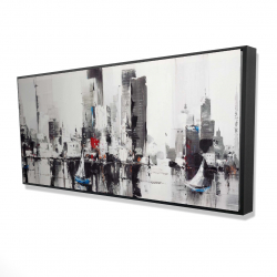 Framed 24 x 48 - 3D - Abstract boats with cityscape