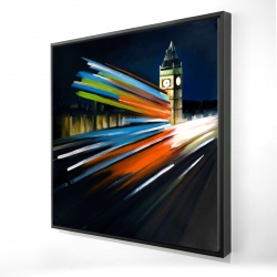 Framed 24 x 24 - 3D - London bus with long exposure