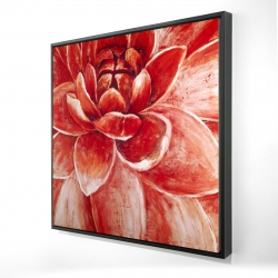 Framed 24 x 24 - 3D - Red chrysanthemum