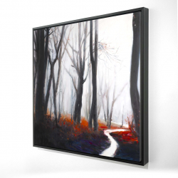 Framed 24 x 24 - 3D - Mysterious forest with stream