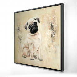 Framed 24 x 24 - 3D - Small pug