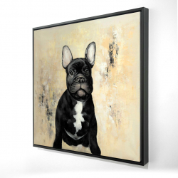 Framed 36 x 36 - 3D - French bulldog
