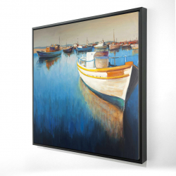 Framed 24 x 24 - 3D - Fishing boats at the marina