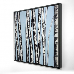 Framed 24 x 24 - 3D - Pastel birches