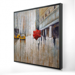Framed 24 x 24 - 3D - Red umbrella in the street