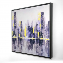 Framed 24 x 24 - 3D - Abstract purple city
