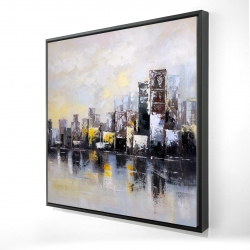 Framed 24 x 24 - 3D - Abstract city in the morning