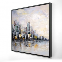 Framed 24 x 24 - 3D - Abstract cityscape in the morning