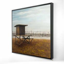 Framed 24 x 24 - 3D - Newport beach lifeguard tower