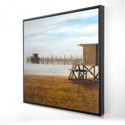 Framed 24 x 24 - 3D - Lifeguard tower at the beach