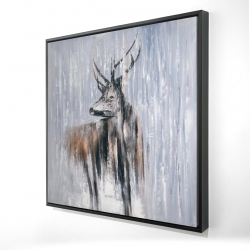 Framed 24 x 24 - 3D - Deer in the forest by a rainy day